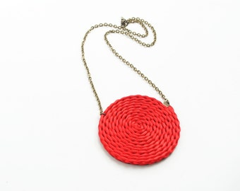 Red spiral necklace, satin cords, rattail, round, circle, geometric, braided, brass, winter spring trends, gift for her
