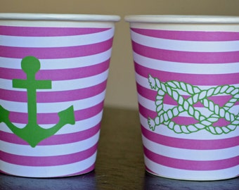 Pink and Green Nautical Anchor and Rope Hot/Cold Paper Party Cups - Set of 12