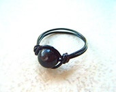 Hypersthene Ring - Rare Luminescent Gemstone - Silver, Gold, Black and Gunmetal Wire - Made to Order