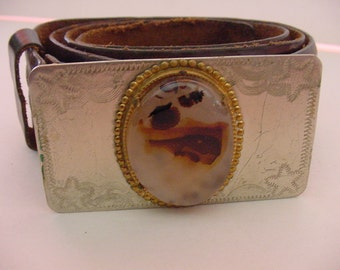 Handsome Men's Leather Belt Montana Agate Set on Nickel Silver Belt Buckle  Circa 1970