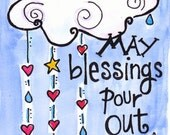 Bible Verse Blessings Pour Out Illustrated Watercolor Print