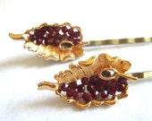 Wedding Hairpins Gold Red Valentine Hair Jewelry Bridal Accessories Repurposed Vintage BSK Jewelry