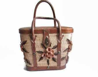 Straw Tote Woven Hand Bag Leather Handles
