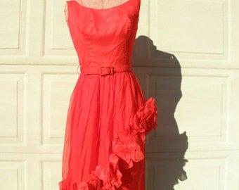 JR. THEME Vintage 1950s Red Silk Party Dress Sz XS DB12 Sleeveless