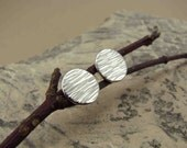 Sterling Silver Hammer-Textured Circle Studs (9mm)