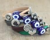 T-Clasp Leather Evil Eye Fashion Bracelet