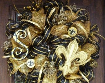 Deco Mesh NEW ORLEANS SAINTS Wreath