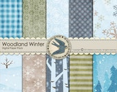 "Digital Scrapbook Paper Pack Instant Download - Woodland Winter -10 12""x12"" Papers for Winter, Sledding, Skiing Scrapbooks, Cards"