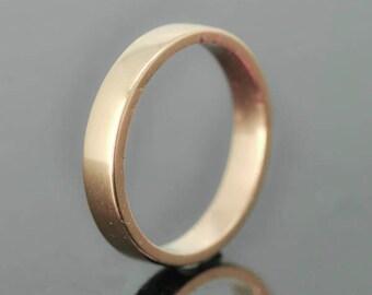 14K Rose Gold Ring, 3mm x 1mm, Wedding Band, Wedding Ring, Rose Gold Band, Flat Band, Square Band, Size up to 6