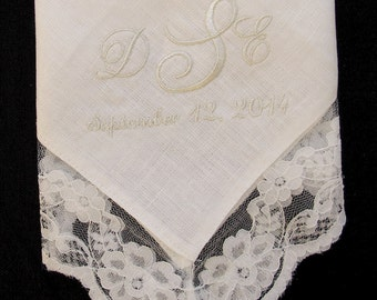 Wedding Handkerchief Embroidered for the Bride
