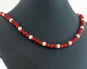 Carnelian & Bone Necklace - Statement Necklace