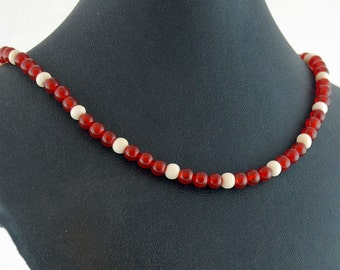Carnelian & Bone Natural Stone Necklace