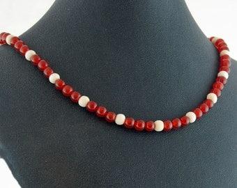 Carnelian & Bone Necklace - Statement Necklace
