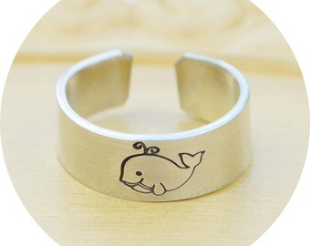 Whale Adjustable Ring- Hand Stamped Aluminum Whale Ring - Any Size- Size 4, 5, 6, 7, 8, 9, 10, 11, 12