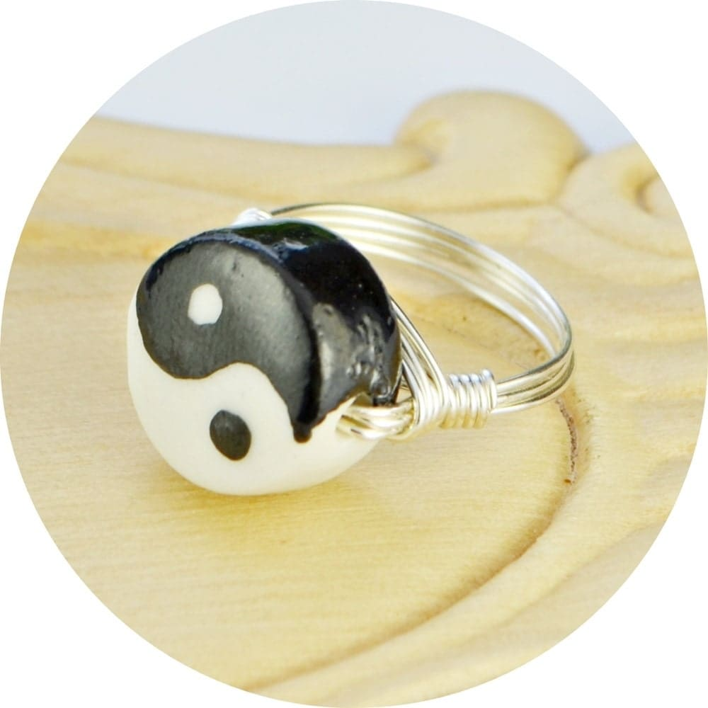 sale yin and yang ring sterling silver filled wire wrapped