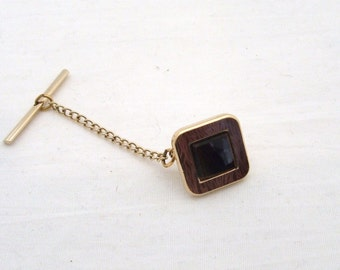 Vintage Square Raised Tiger Eye & Inlaid on Gold Tone Tie Tack 1960s