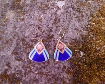 80s Laurel Birch cloissone drop earrings