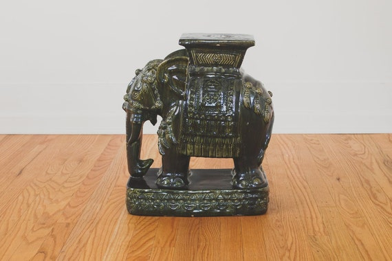 Vintage Ceramic Elephant Garden Stool Side Table