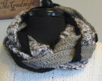 Black and Gray Glittery Alpaca Braided Infinity Cowl Scarf
