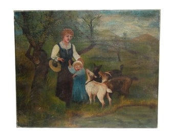 Vintage painting of protective mother