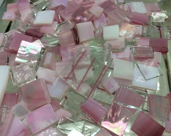 100 PINK CRYSTAL & ICE Odd Size Mix Stained Glass Mosaic Tile Ice3