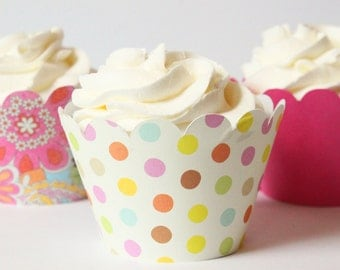 Pastel Cupcake Wrappers Polka Dot Paisley Pink Party Supplies Cupcake Party Cupcake Liners Girls Baby Shower Decor Pink Birthday / Set of 12