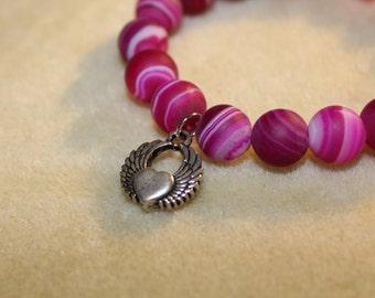 Magenta Semi-Precious Bracelet with Heart Charm