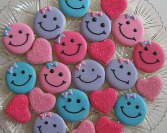 Mini Smiles & Hearts Sugar Cookies, Valentine's Day Cookies (2 Dozen)