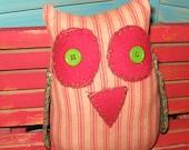 Primitive Folk Art Owl Shelf Sitter-Felix-Christmas Poinsettia Print Wings FAAP OFG