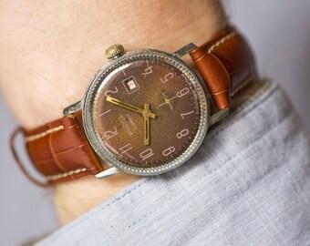 Brown men's wrist watch Vostok, mechanical watch classic watch, shockproof watch, premium leather strap new