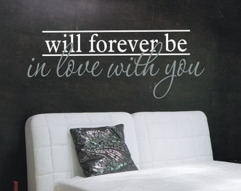 Love Wall Decal - In Love with You Wall Vinyl Decal -  Master Bedroom Decor - Wedding Gift -