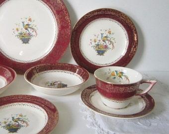 Salem Century China Vintage Serving Hollywood Regency Victorian Dinnerware Gold Maroon Ornate Birds Florals