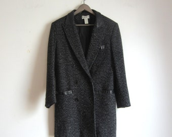 pure wool double breast button coat / leather trim tweed womens jacket small