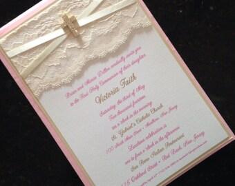 Vintage lace, ribbon and rhinestone Cross Communion Invitation