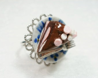 Rocky Road Ring. Polymer Clay.