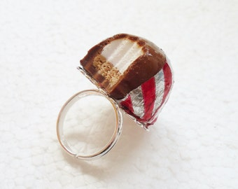 Chocolate Teacake Ring. Polymer Clay.