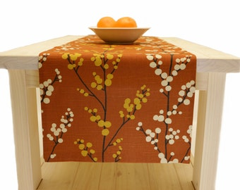 Fall Table Runner, Thanksgiving Table Runner Rust Brown 60 inch, 72 inch, 96 inch, 108 inch, 120 inch long