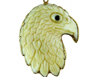 Eagle Charm Pendant-- Carved Bone Bald Eagle Head with a 24k Gold Electroplated Trim Charm Pendant  (S6B7-03)