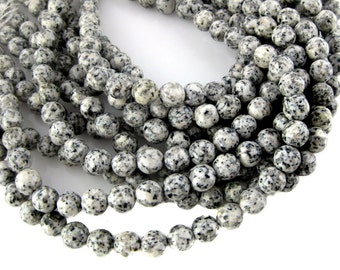 Agate Beads-- Spotted White Agate 11mm Faceted Round Beads- FULL STRAND (S44B3-05)