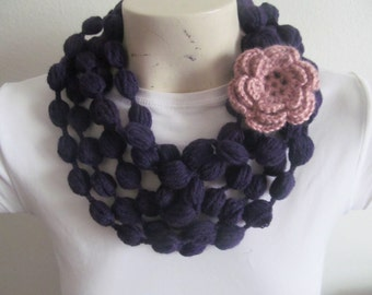 Purple Crochet Bubble Infinity Scarf With Rose Flower, Lariat & Neckwarmer or Crochet Puff Stitch Scarf