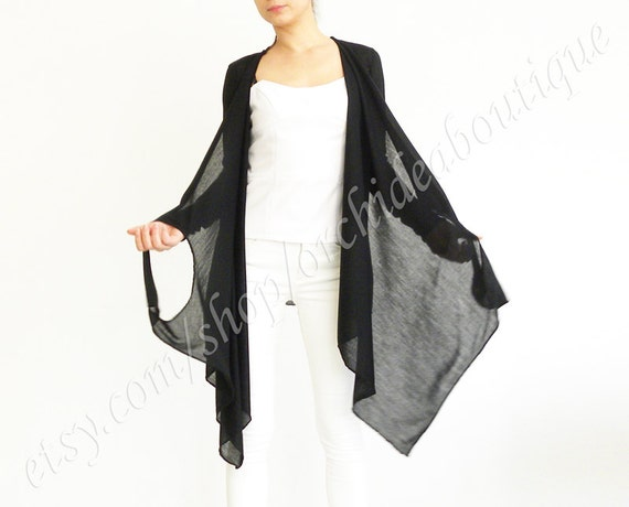 HALEY Convertible wrap jersey cardigan cover-up jacket casual plus size cozy draped black