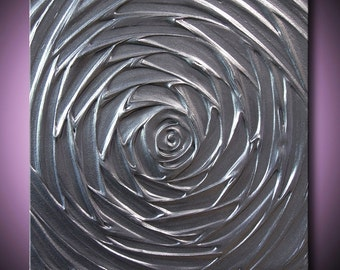 Painting Silver Dark Metallic Gunmetal Gray Grey Abstract Acrylic Sculpture Vortex of Creation 12x12 High Quality Original Modern Art