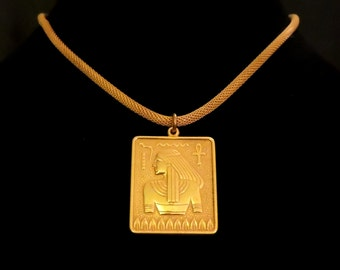 Signed MIRIAM HASKEL Vintage Gold Tone Egyptian Revival Necklace