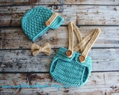 Baby Set with Suspenders, Bow Tie, and Newsboy Hat in Seafoam Blue and Light Brown, Baby Crochet Hat, Diaper Cover and Bow Tie