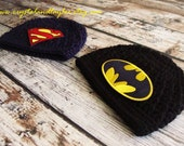 Twin Crochet Superhero Hats, Batman Hat, Superman Hat, Baby Hat, Crochet Hats, Navy Blue and Black