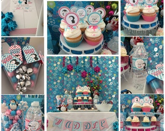 Waddle it be? Penguin Gender Reveal for Winter Baby PARTY PACKAGE-DIY