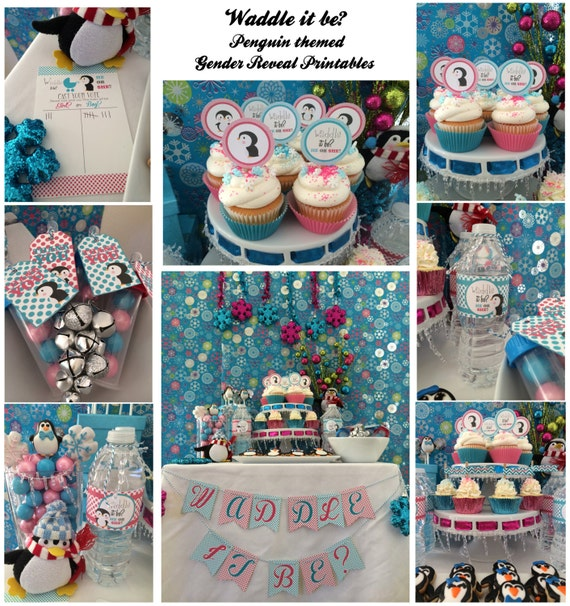 Waddle It Be? Penguin Gender Reveal For Winter Baby PARTY PACKAGE-DIY By PuzzlePrints