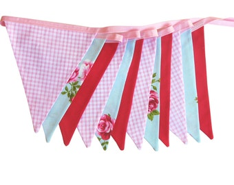 Vintage Style Country Roses Flag Bunting.  HANDMADE . Party, Market Stall Banner Decoration Birthday GIFT IDEA