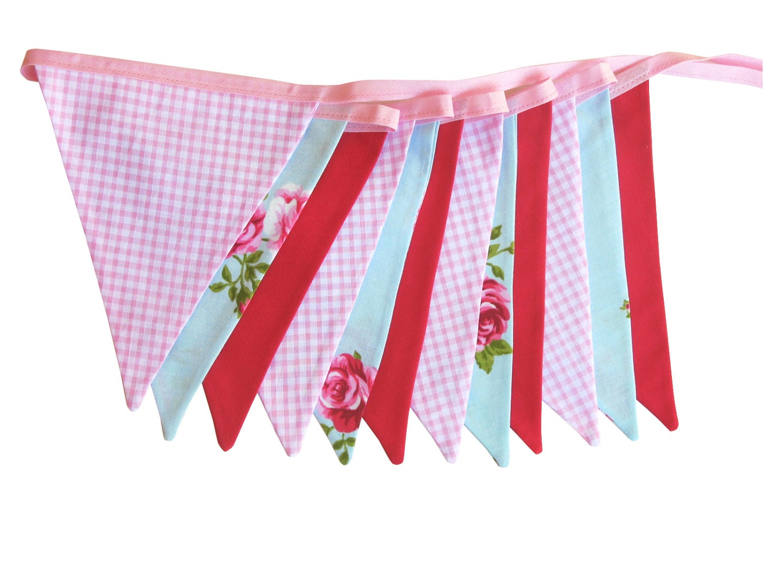 vintage style country roses flag bunting by