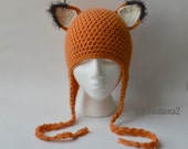SALE-Fox hat-Handmade earflaps FOX HAT